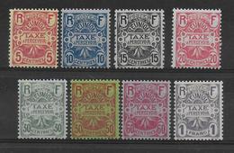 REUNION - 1907 - TAXE YVERT N° 6/13 * MH  - COTE = 17 EUR. - Postage Due