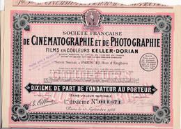 """(Tapp 3)  1 Dixième De Part  """"Société Française De Cinématographie 1928"""" - Aandelen"""