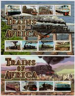 Uganda - 2000 - Trains Of Africa - Mint Set Of 2 Sheetlets And 3 Souvenir Sheets - Uganda (1962-...)