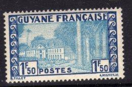 "Guyane N° 176  XX  Types De 1929 / 38 Sans ""RF"" : 1 F.50 Bleu Et Bleu Clair Sans Charnière,  TB - Guyane Française (1886-1949)"