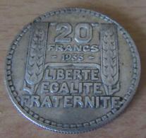 France - Monnaie 20 Francs TURIN 1933 RC (Rameaux Courts) En Argent - TTB+ - France