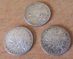 France - 3 Monnaies 50 Centimes Semeuse 1898 Et 1899 - TTB / TTB+ - G. 50 Centimes