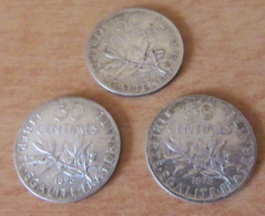 France - 3 Monnaies 50 Centimes Semeuse 1898 Et 1899 - TTB / TTB+ - France