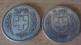 Suisse - 2 Monnaies 5 Francs En Argent 1933 Et 1937 - TTB - Suisse