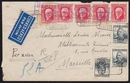 GUERRA CIVIL. 1937. BARCELONA A MARSELLA. CARTA CERTIFICADA POR CORREO AÉREO. ESPECTACULAR FRANQUEO. - 1931-50 Lettres