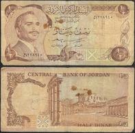 JORDAN - 1/2 Dinar ND (1975-92) P# 17 Asia Banknote - Edelweiss Coins - Jordanie