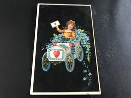 Livraison Courrier Amoureux - Fillette & Voiture Fleurie - 1909 - Holidays & Celebrations