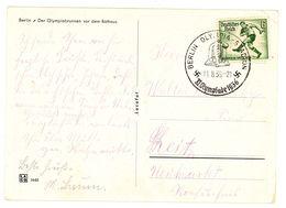 """Sommerspiele 1936 """"Berlin Olympiabrunnen"""" EF Nr. 611 Sonderstempel Olympia Stadion - Estate 1936: Berlino"""