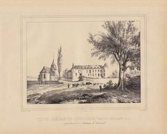 Gravure Ancienne Château De Belgique De Courrière Namur à Madame De Séverin - Documents Historiques