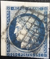 FRANCE N°4h Cérès 25c Bleu Noir. Oblitéré Grille. - 1849-1850 Ceres