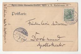 Reich, Postkarte Travelled 1905 Halle To Dortmund B181215 - Brieven En Documenten