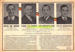 BIDPRENTJE 22cm X 15cm HORSEELE LENS NOTELAERS VAN HOOREN BLANKENBERGE MAESEYCK 1944 WEERSTAND 40/45 WW II MUNCHEN - Devotieprenten