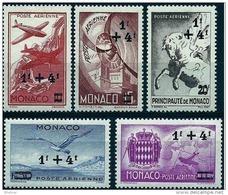 """Monaco Aerien YT 8 à 12 (PA) """" Symboles Surchargés """" 1945 Neuf** - Poste Aérienne"""