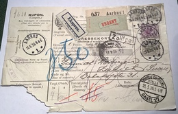 Denmark 1926 AARHUS Rare EXPRESS EKSPRES Parcel Post > ZÜRICH Schweiz (Danmark Brief Cover Dänemark - 1913-47 (Christian X)