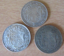 Grande-Bretagne / Angleterre - 3 Monnaies Half Crown 1912, 1913 Et 1920 - TB à TTB - Argent - 1902-1971 : Monnaies Post-Victoriennes