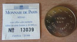 """France - Médaille Euro """" L'EURO Vaut 6,55957 FRANCS"""" Avec Certificat - 20 000 Exemplaires - Professionnels / De Société"""