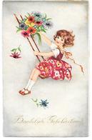 Fille Sur Balançoire, Fleurs, Girl On Swing, Flowers, Mädchen Auf Schaukel, Blumen, Hannes Petersen Style, Not Signed! - Andere