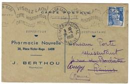 France, Marcophilie, Lettre à En Tête Thématique Pharmacie Nouvelle, 20 Place Victor Hugo - LAON, J . Berthou - Marcophilie (Lettres)