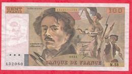 """100 Francs """"Delacroix"""" 1981-----F/TTB+----Série N-53 - 1962-1997 ''Francs''"""