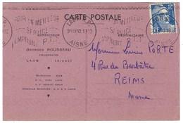 France, Marcophilie, Lettre à En Tête Thématique Pharmacie Pharmacien Georges Rousseau à Laon - Marcophilie (Lettres)