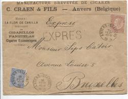 2638/ TP 57-60 FB S/L. Exprès Manufacture De Cigares Craen & Fils C.Anvers Station 1895 V.BXL C.d'arrivée Octogonal - 1893-1900 Thin Beard