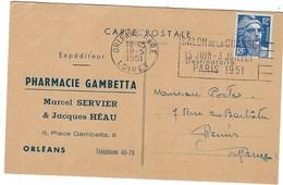 France, Marcophilie, Lettre à En Tête Thématique Pharmacie Gambetta à Orléans - Marcophilie (Lettres)