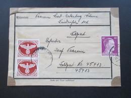 3.Reich 1943 Feldpostpächen / Päckchenadresse Nr. 2A Senkrechtes Paar MiF Feldpostnr 45413 Kommando Sicherungs-Division - Germany