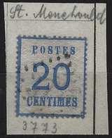 FRANCE Alsace Lorraine Occupation N°6, 20c Bleu Oblitéré GC 3773 En Noir De St Menehould RRR - Alsace-Lorraine