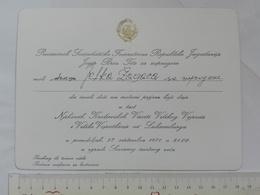 1971 YUGOSLAVIA TITO INVITATION CARD Jean Grand Duke Of Luxembourg Federal Executive Council GALA RECEPTION - Mededelingen