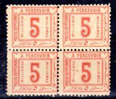 1.1.1888; Timbre Taxe, YT No. 11, En Bloc De 4 TP's, Neuf **, Lot 50794 - Service