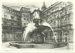 """Città Del Vaticano, """"Fontana E Cortile Belvedere"""" Disegno L. Bianchi Barriviera X Anno Europeo Patrimonio Architettonico - Vaticano"""