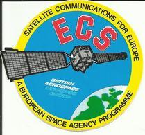 Autocollant Satellite ECS - BRITISH AEROSPACE - Lancement ARIANE V24 Du 21 Juillet 1988 - ESPACE - Stickers