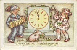 2 AKs Neujahr New Year Kinder Geld Schweinchen Uhr Zifferblatt Sporn Color ~1940 # - New Year