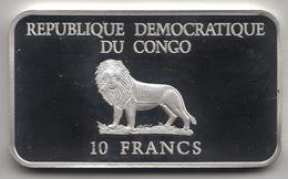 @Y@  Congo   10 Francs  2000  Millenium  Eerste Stap Naar Mars  Zilver - Kongo (Dem. Republik 1998)