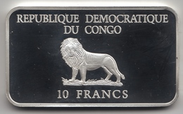 @Y@  Congo   10 Francs  2000  Millenium  Eerste Stap Naar Mars  Zilver - Congo (République Démocratique 1998)