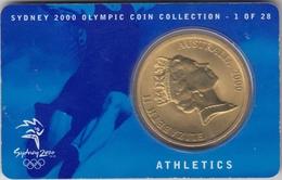 @Y@  Australië     Penning  Nr 1 Olympic Games  Atheletics   In Coincard - Pièces écrasées (Elongated Coins)