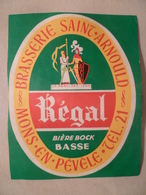 étiquette Ancienne Brasserie  SAINT ARNOULD   Régal Bière Bock Basse  A MONS EN PEVELE - Bière