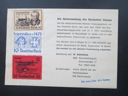 Vignette Die Notverwaltung Des Deutschen Ostens / Ostpreußischen Astronomen Kopernikus. Okkupation Sudentland - Vignetten (Erinnophilie)