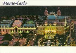 Principaute De Monaco, Montecarlo, Vue Aerienne Du Casino La Nuit, Veduta Aerea Notturna Del Casinò - Casinò