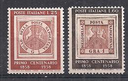 ITALIA 1958  CENTENARIO DEI PRIMI FRANCOBOLLI DI NAPOLI SASS. 840-841 MNH XF - 1946-.. République