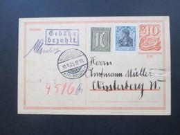 DR Infla 9.1923 Ganzsache Zusatzfrankaturen Und Stempel Gebühr Bezahlt Handschriftlicher Vermerk Niedersfeld Kr. Brilon - Allemagne