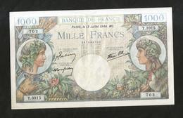 FRANCE - BANQUE De FRANCE - 1000 Francs COMMERCE ET INDUSTRIE ( 13 - JUILLET - 1944 GB. ) - 1871-1952 Antichi Franchi Circolanti Nel XX Secolo