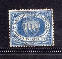 REPUBBLICA DI SAN MARINO 1894 1899 STEMMA COAT OF ARMS ARMOIRIES CENT. 25 USATO  USED OBLITERE' - San Marino