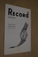 Ancien Catalogue Publicitaire Montre,Record Watch S.A.Suisse,15 Cm Sur 11 Cm. - Advertising
