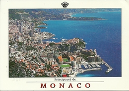 Principaute De Monaco, Montecarlo, Vue Aerienne Et Le Stade, Aerial View, Veduta Aerea Stadio Al Centro, Luftansicht - Viste Panoramiche, Panorama