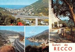 Cartolina Recco 4 Vedute Panorama Ponte 1976 - Genova