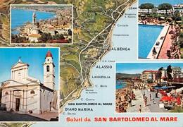 Cartolina San Bartolomeo Al Mare 4 Vedute Mappa Costa - Imperia