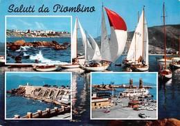 Cartolina Piombino 4 Vedute Barche 1965 - Livorno