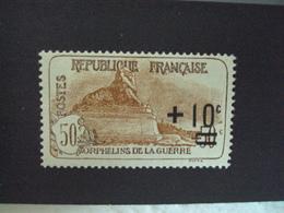 """1922   -timbre  N°167- Neuf, Charniere  """" 50c+10 Bun Et Brun Clair-  Orphelins De Guerre """"    Cote  27  Net           9 - France"""