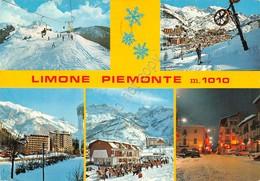 Cartolina Limone Piemonte 5 Vedute Skilift Sci Sciatori 1976 - Cuneo